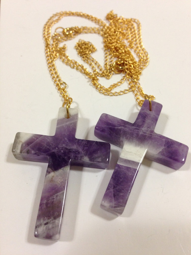 Amethyst Cross Necklace - LAQUOR