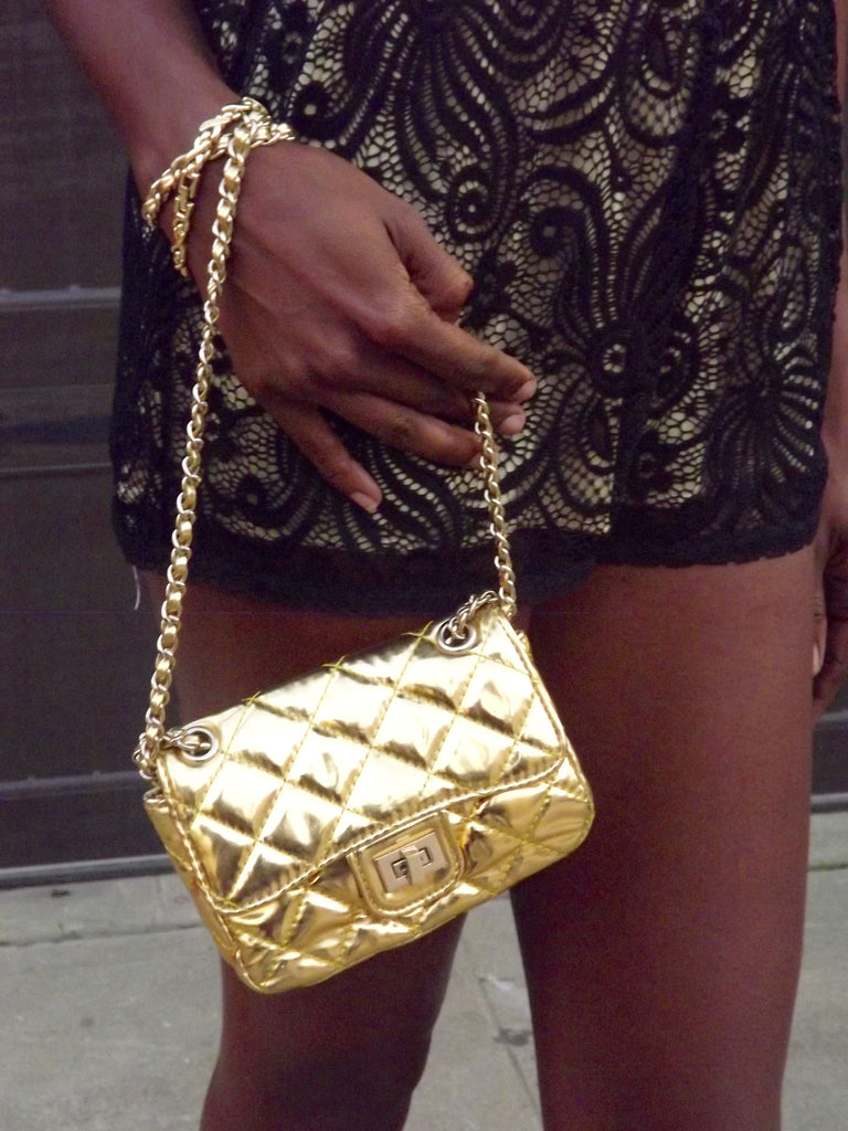Gold Mini Quilted Purse