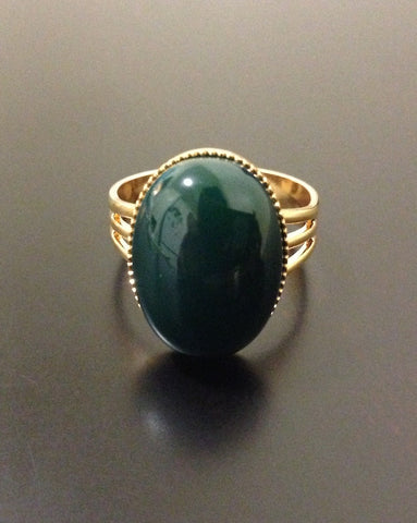 Dark Green Agate Ring - LAQUOR
