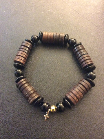 Wood and Black Jasper Bracelet
