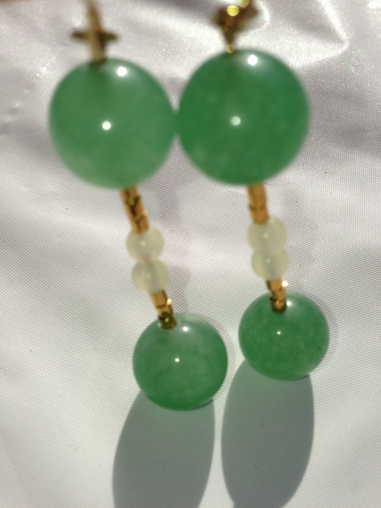 Green Aventurine and Jade Earrings - LAQUOR