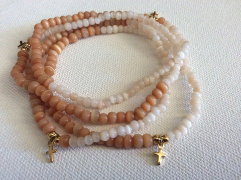 Cream and Peach Catseye Bracelet