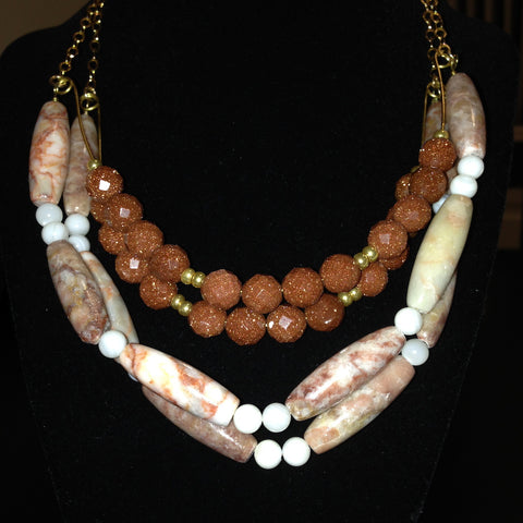 Red Marble and Goldstone Necklace