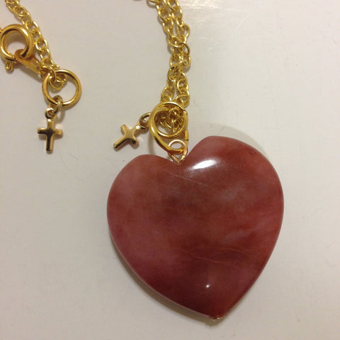 Rhrodochrosite Heart Necklace - LAQUOR