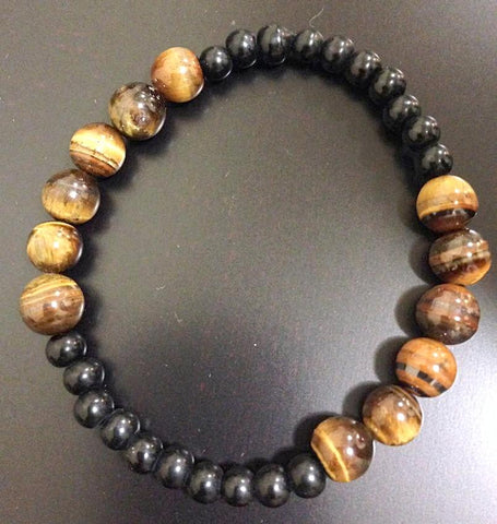 Tiger Eye and Black Cats eye Bracelet