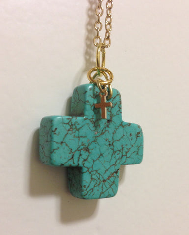 Turquoise Cross Necklace - LAQUOR