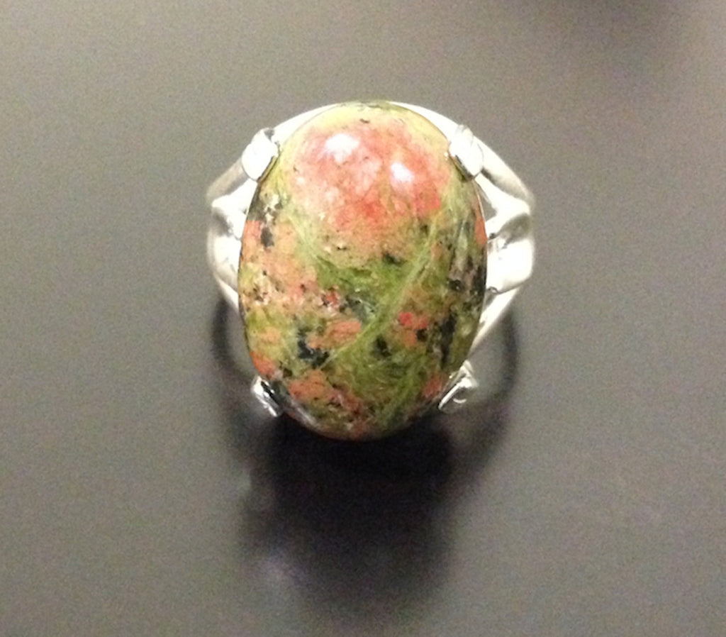 Unakite Ring - Gold/Silver Plated Brass - LAQUOR
