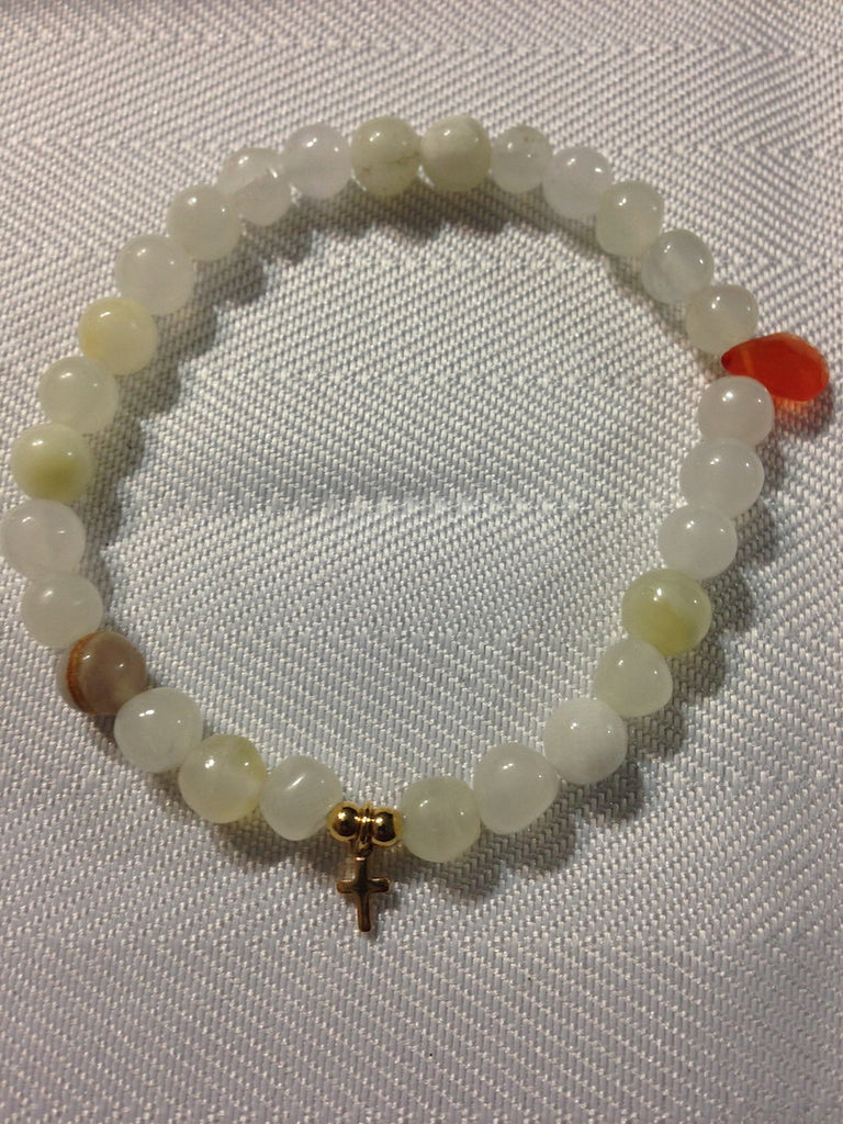 White Onxy and Carnelian Bracelet - LAQUOR