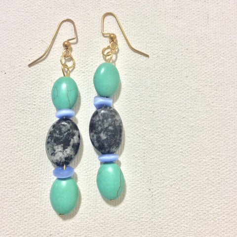 Spotted Quartz and Blue Catseye Earrings