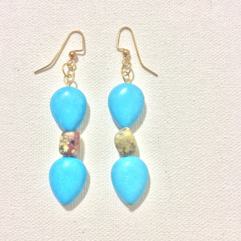 Turquoise and Lepidolite Earrings