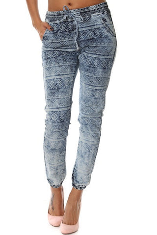 Denim Tribal Joggers