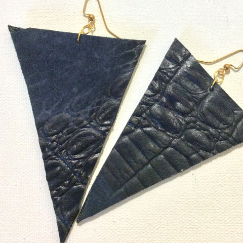 Leather Gator Print Earrings
