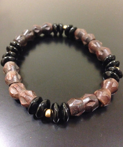 Wood and Black Onyx Bracelet