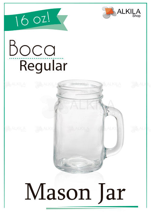 Mason Jar County 16oz Liso con Asa (473 ml) - Alkila Shop - 2