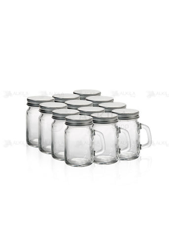 Mason Jars Mini c/Asa Liso 4oz Paquete con 12 Frascos (118 ml) - Alkila Shop - 1