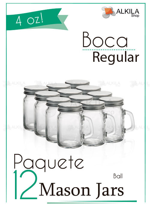 Mason Jars Mini c/Asa Liso 4oz Paquete con 12 Frascos (118 ml) - Alkila Shop - 2