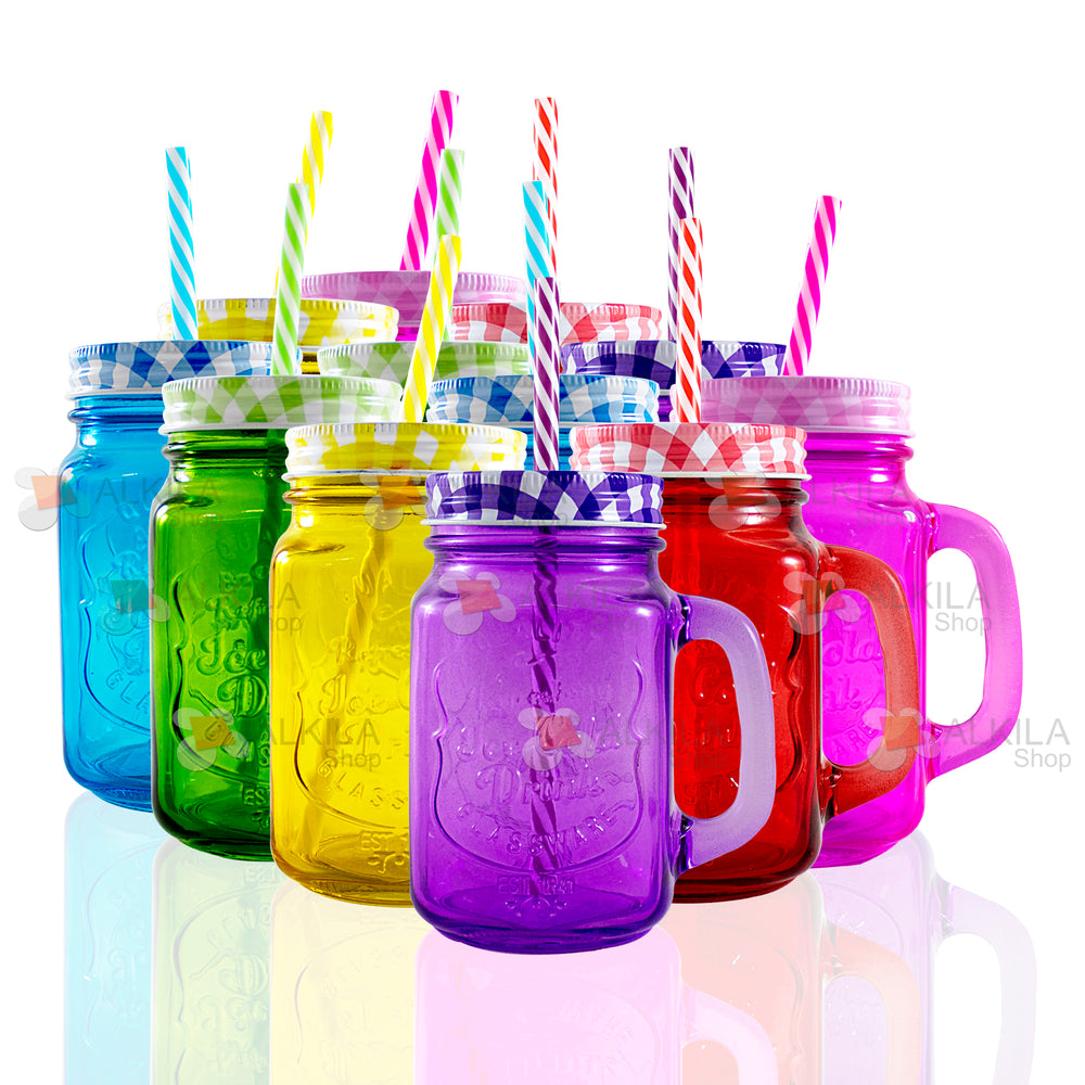 Ice Cold Drink c/Asa Colores 16oz con Tapa Mantel y Popote (12 pzs)