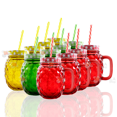 Pineapple Mason Jar c/Asa Colores 16oz con Tapa y Popote (12 pzs)