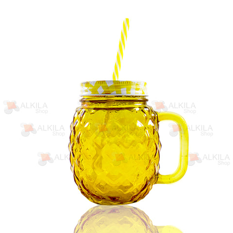 Pineapple Mason Jar Amarillo c/Asa 16oz con Tapa y Popote (473 ml)