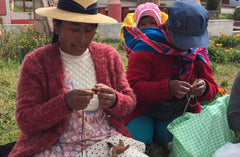 Peruvian women knitting