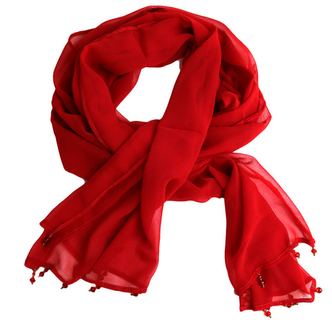 Sheer Red Chiffon Scarf with Red Crystal Accent Beads