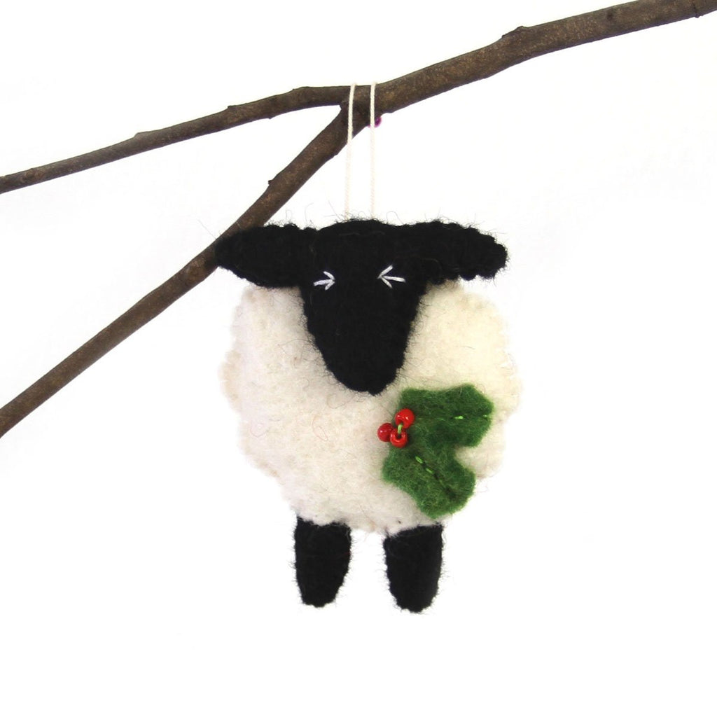 Hand Felted Christmas Ornament: Sheep - Global Groove (H)Nepal
