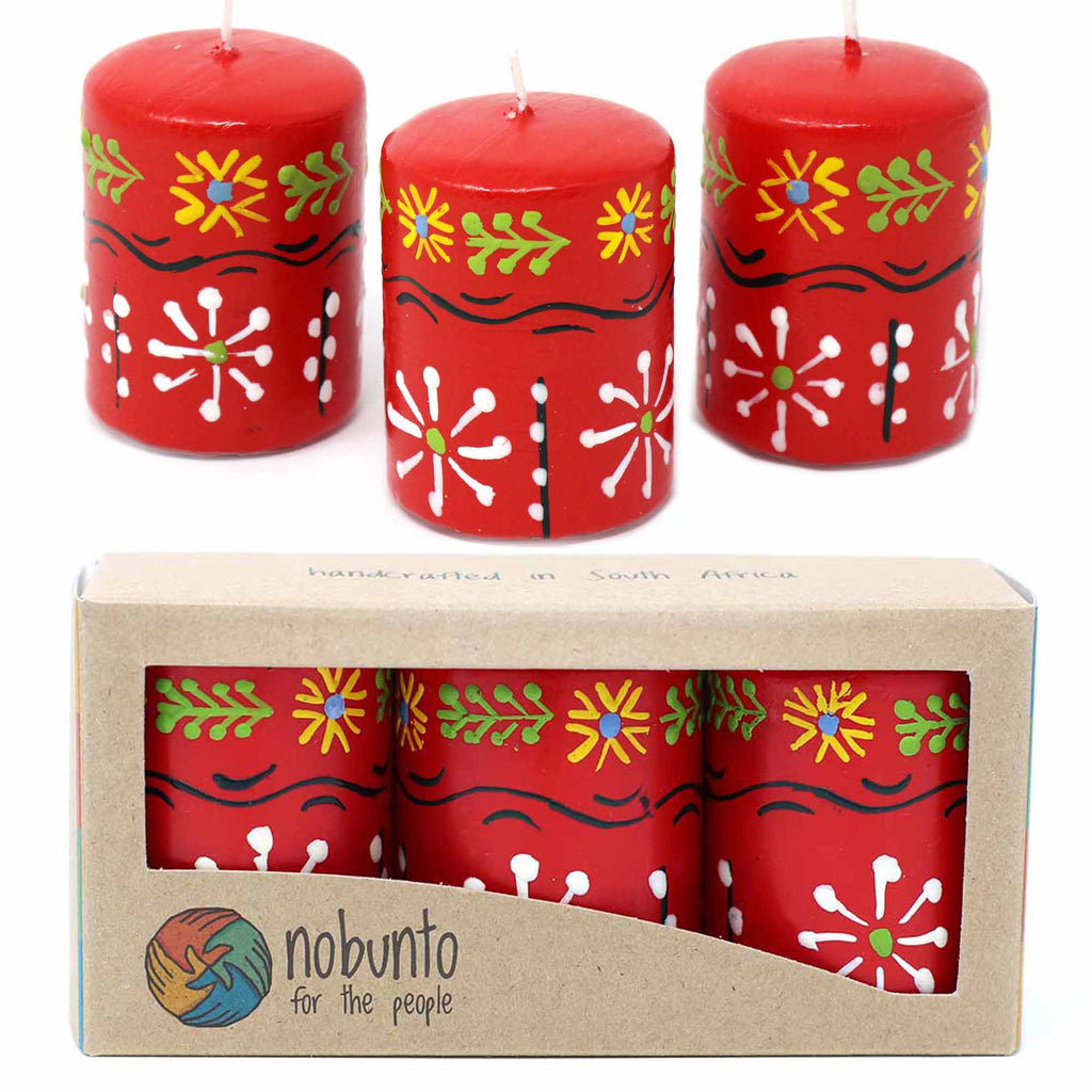 Hand Painted Candles in Red Masika Design (box of three) - South Africa