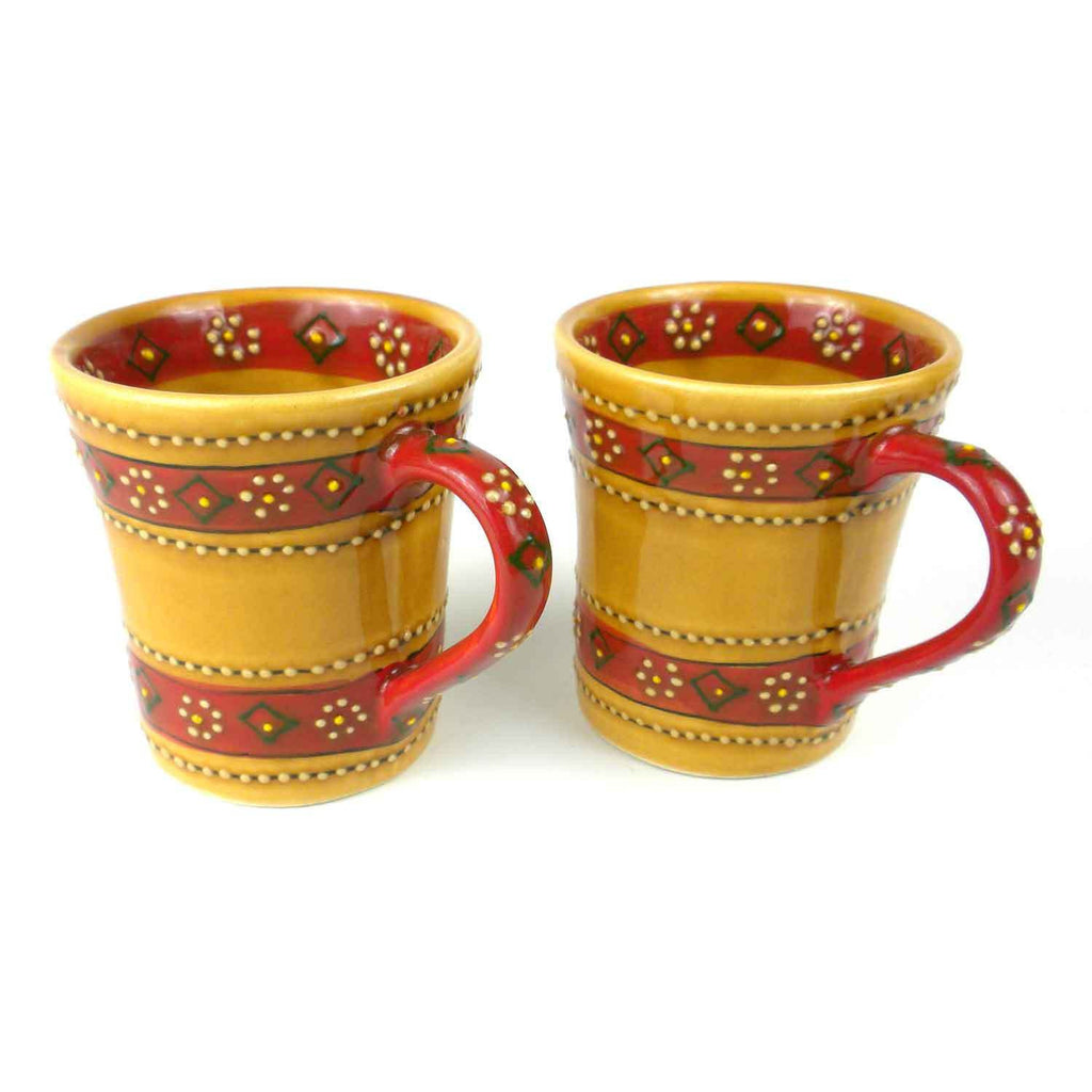 Set of 2 Hand-painted Flared Mugs in Honey Handmade and Fair Trade
