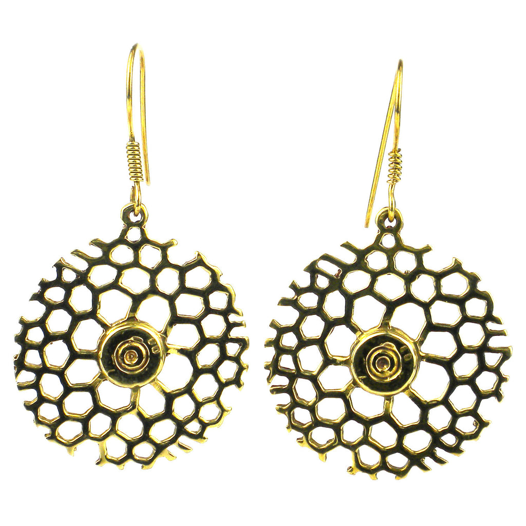 Beehive Bomb Casing Earrings - Cambodia