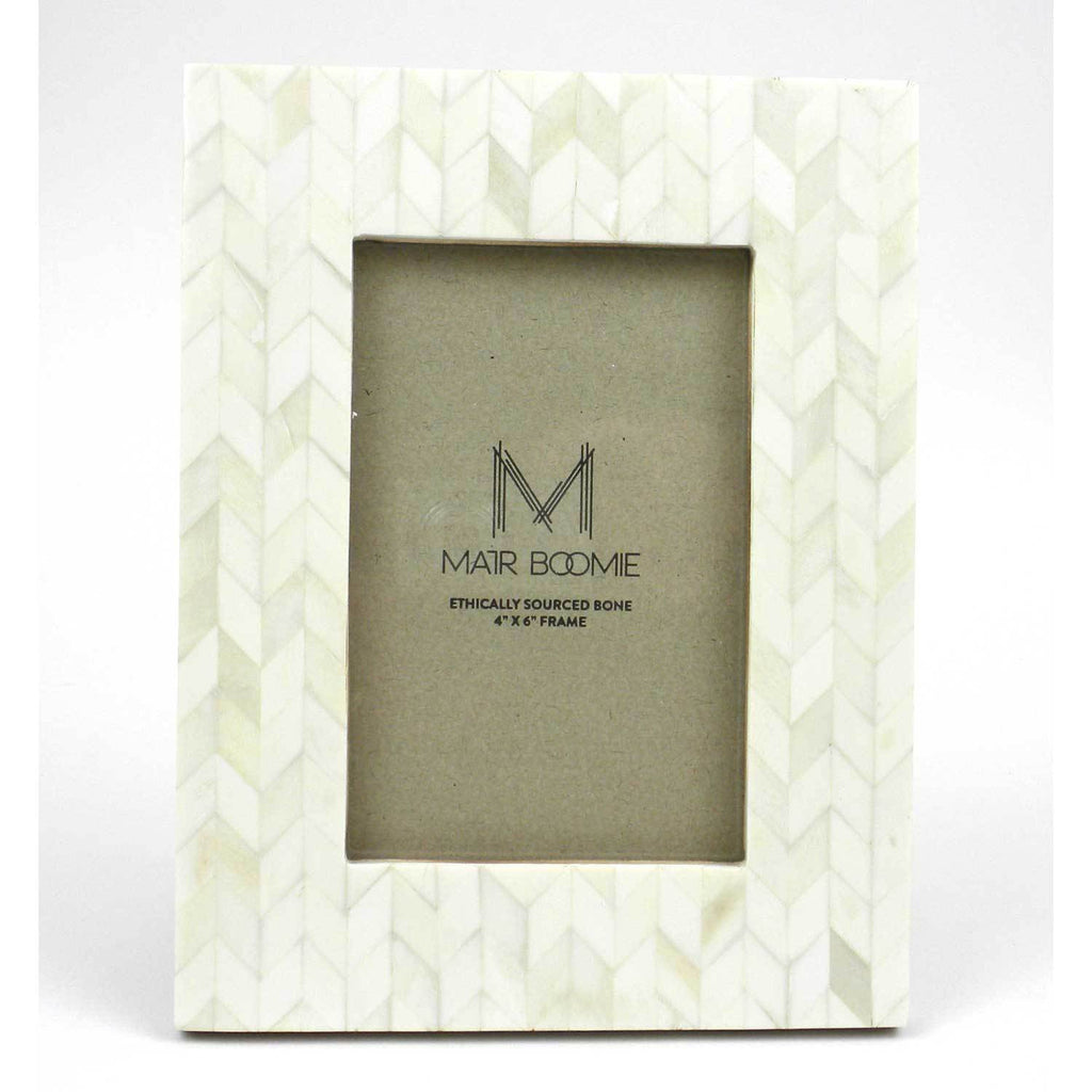 Chevron Pearl Bone Wood Frame - India