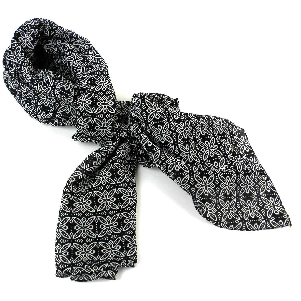 Black and White Floral Cotton Scarf - India