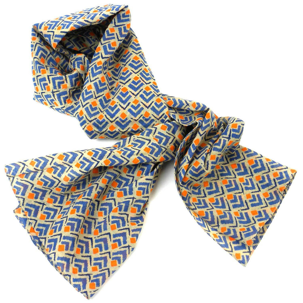 Blue and Orange Geometric Cotton Scarf - India