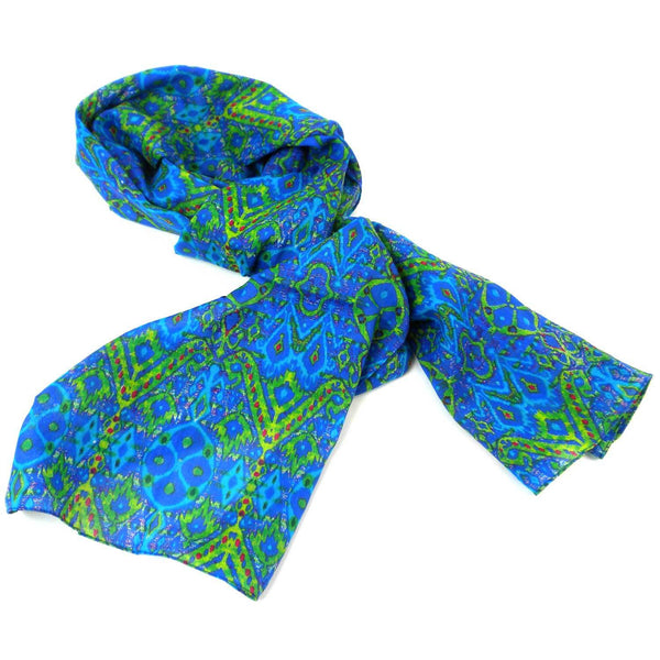 Blue Psychedelic Cotton Scarf - India