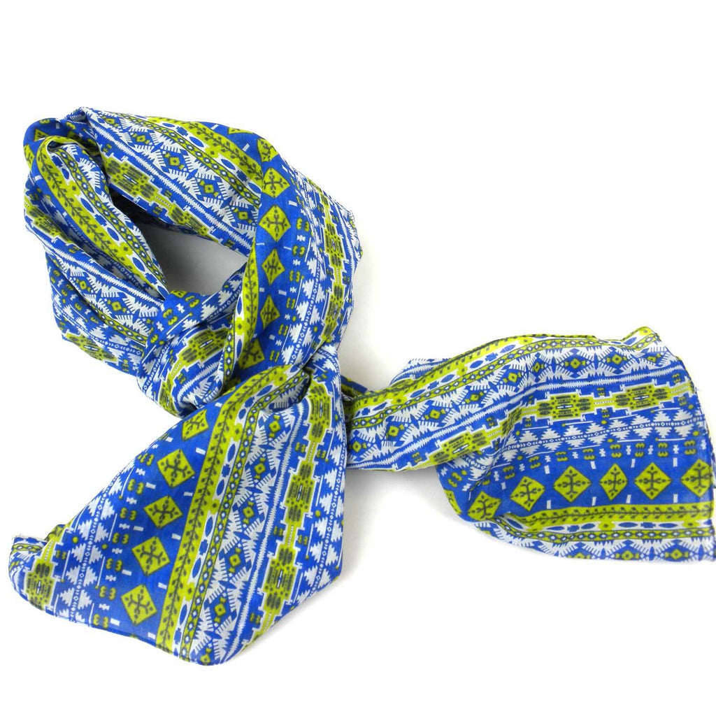 Blue and Green Glyph Cotton Scarf - India