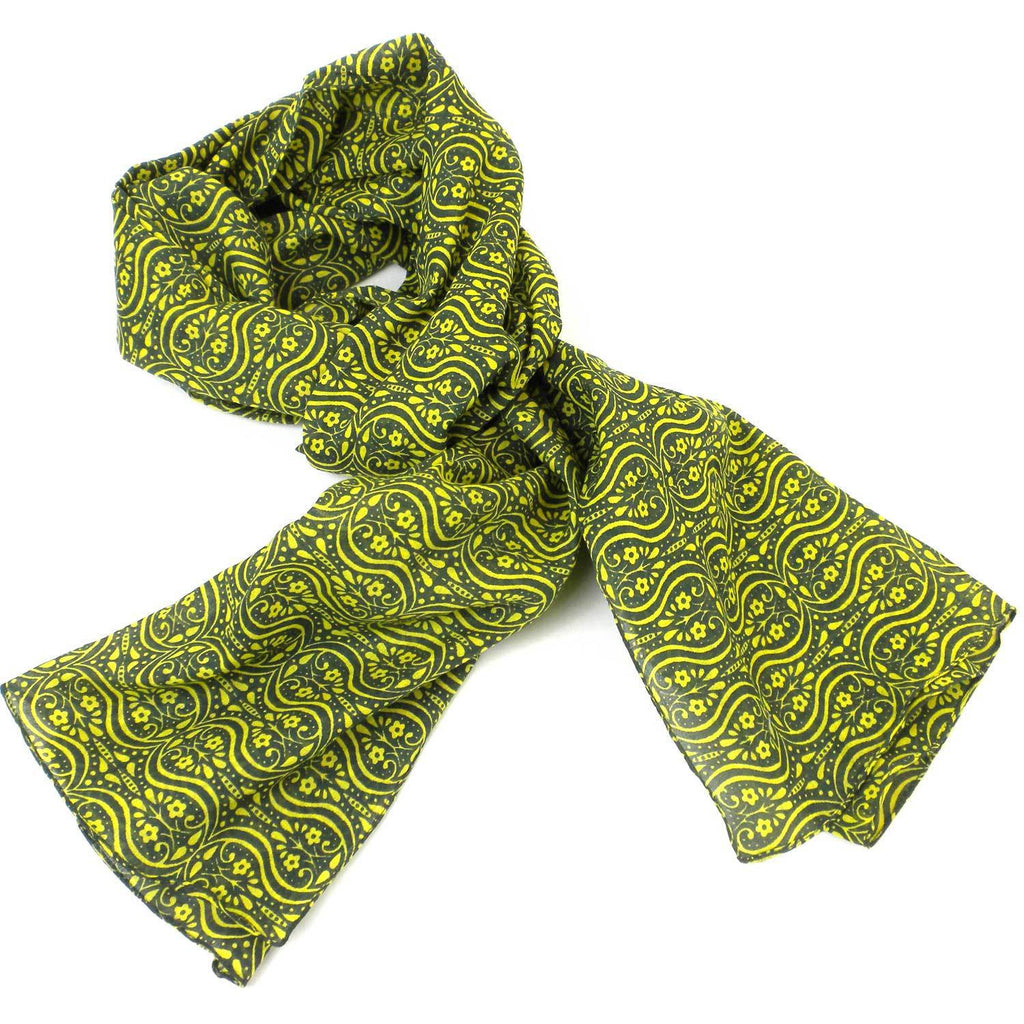 Olive and Lemon Cotton Scarf - India