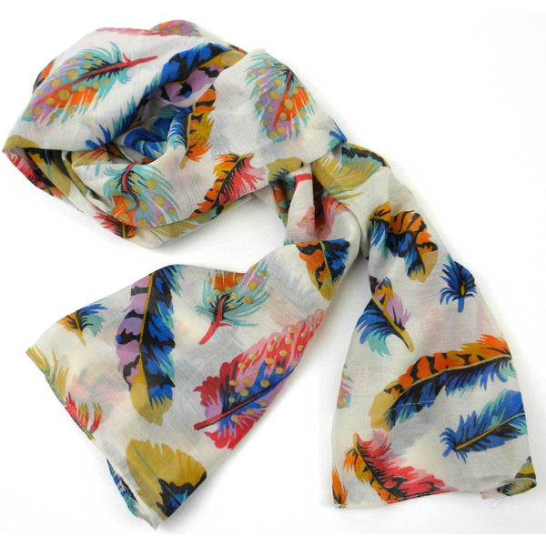 Cream Feather Polyester Scarf - India