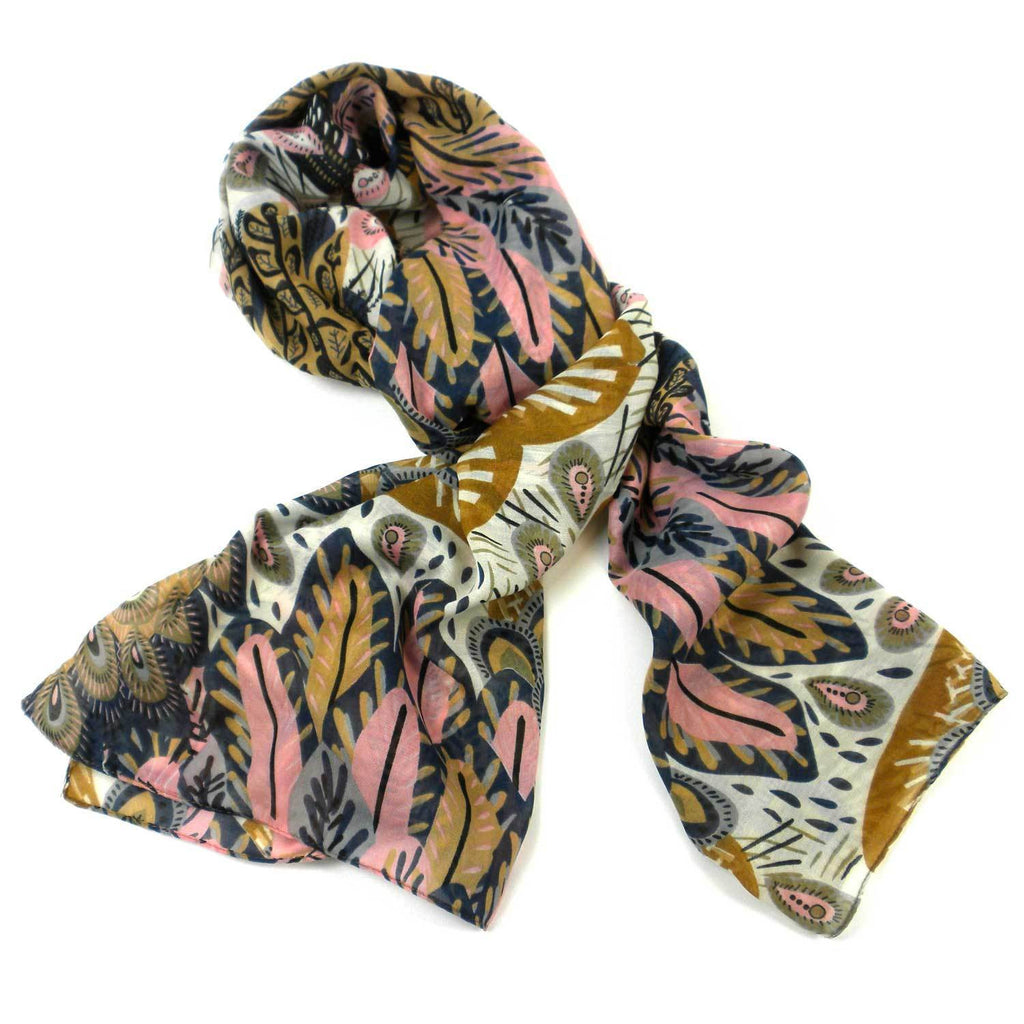 Peacock Feather Polyester Scarf - India
