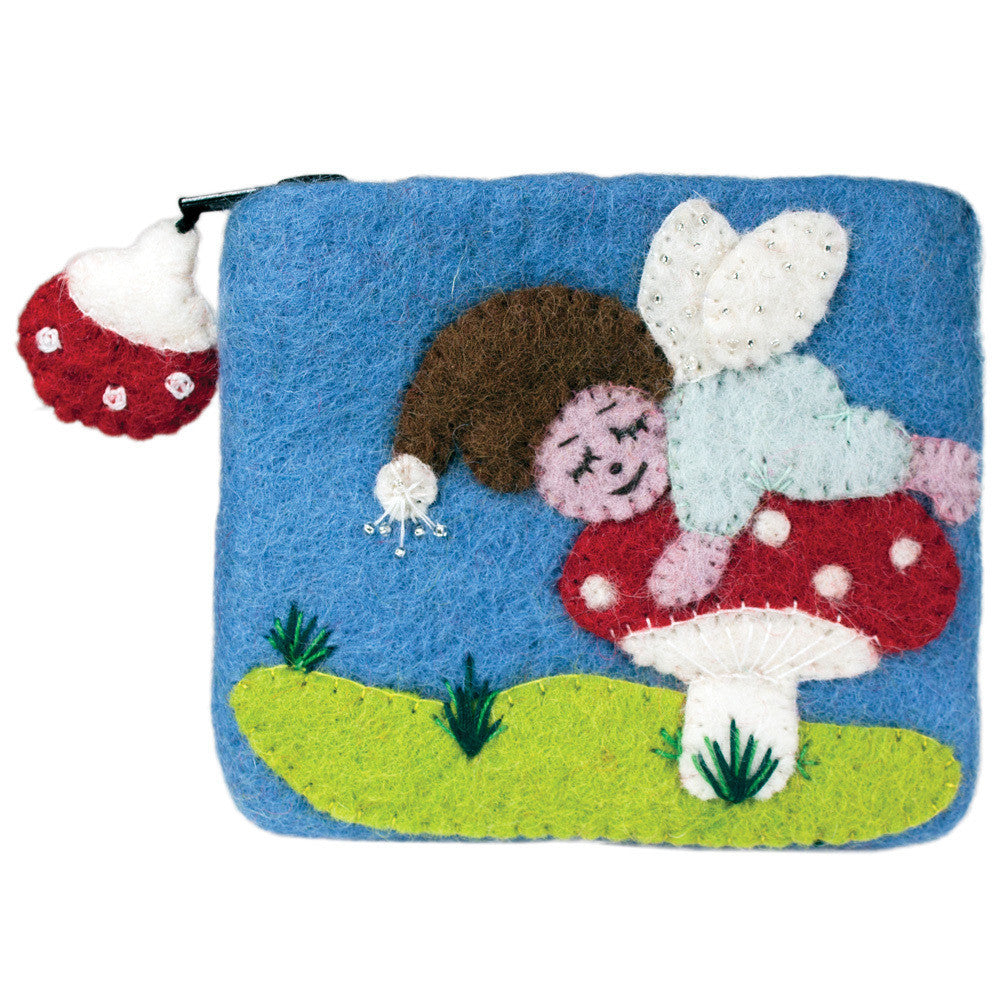 Felt Coin Purse - Sleeping Sprite - Nepal