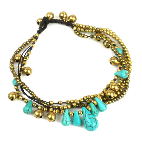 Bohemian Tear Drop Anklet - Turquoise - Thailand