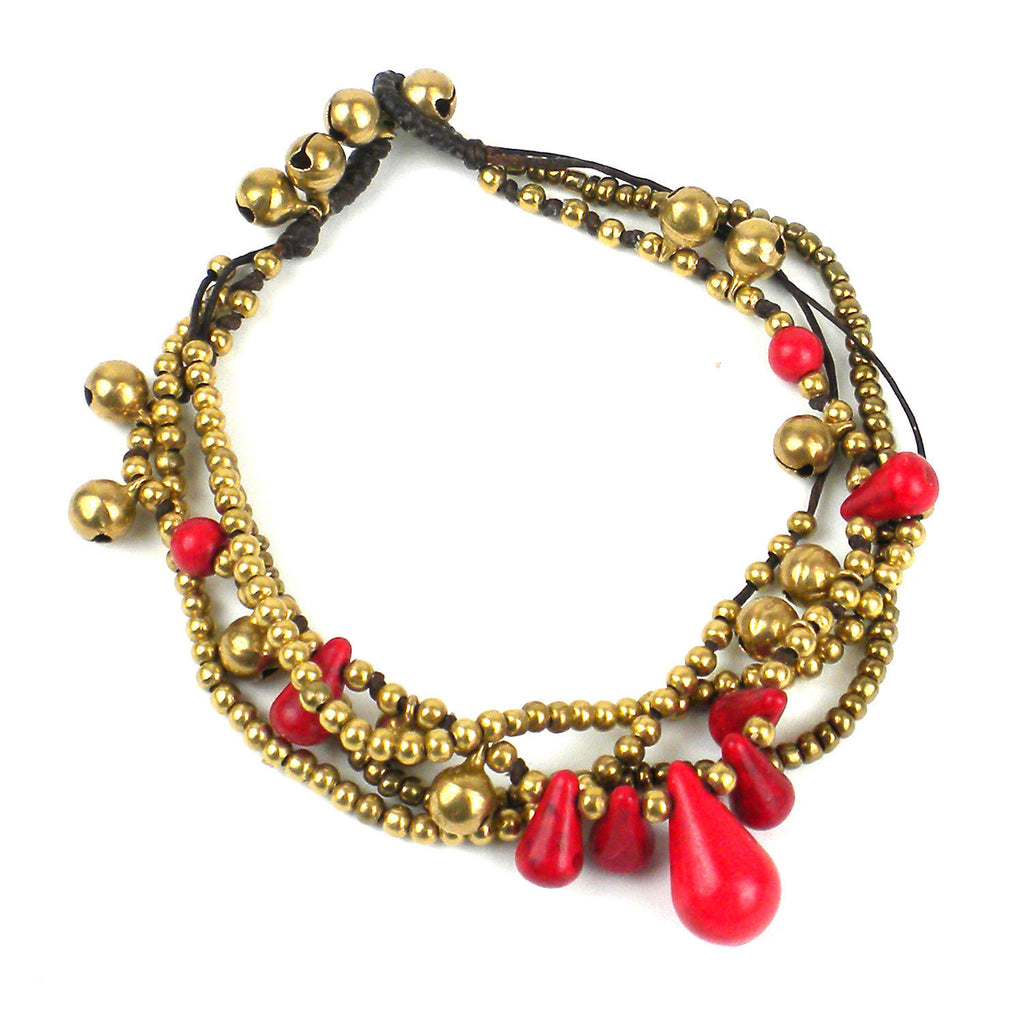 Bohemian Tear Drop Anklet Red/Black - Thailand