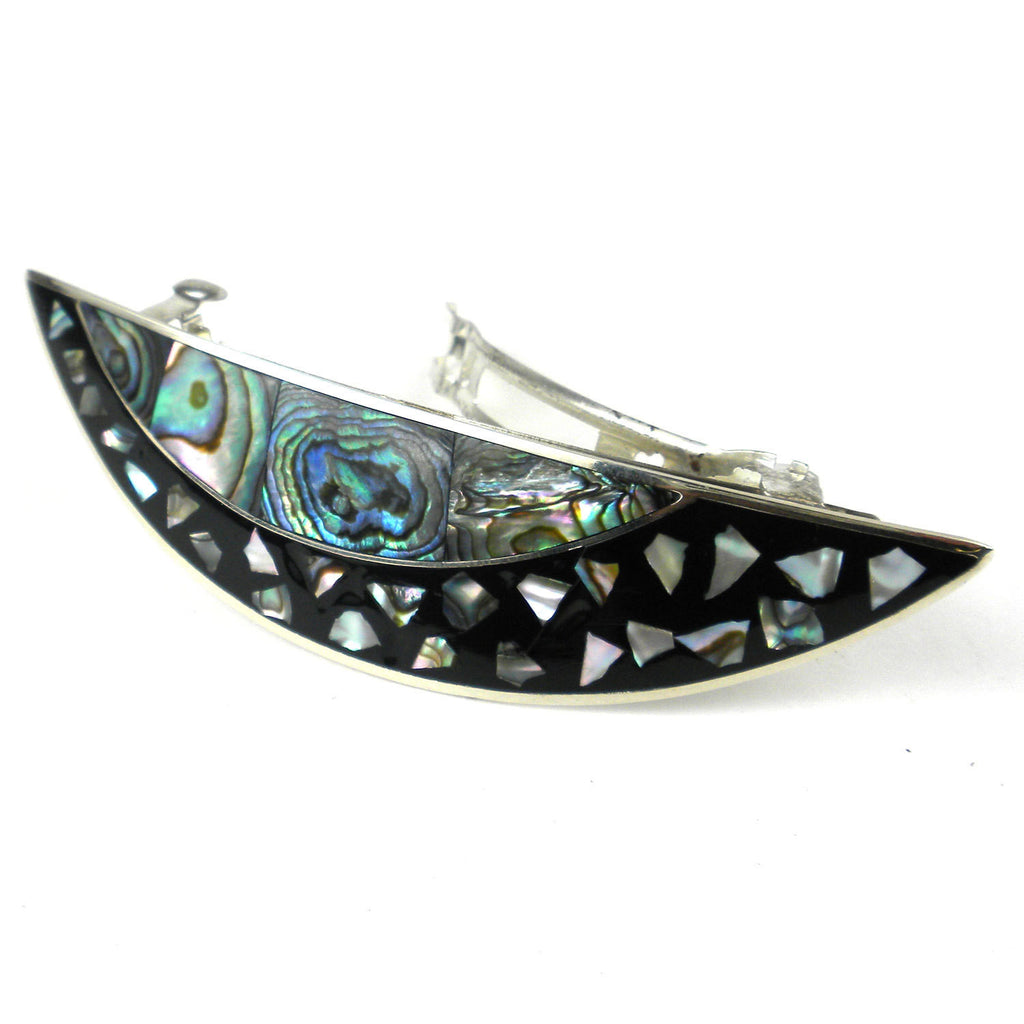 Abalone and Alpaca Silver Arc Barrette - Artisana