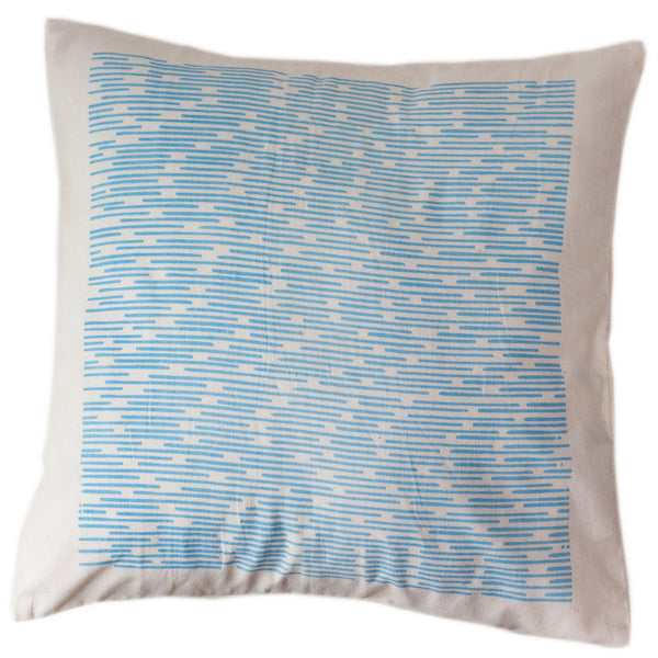 Blue Dashes Pillow Cover 16 by 16 - India