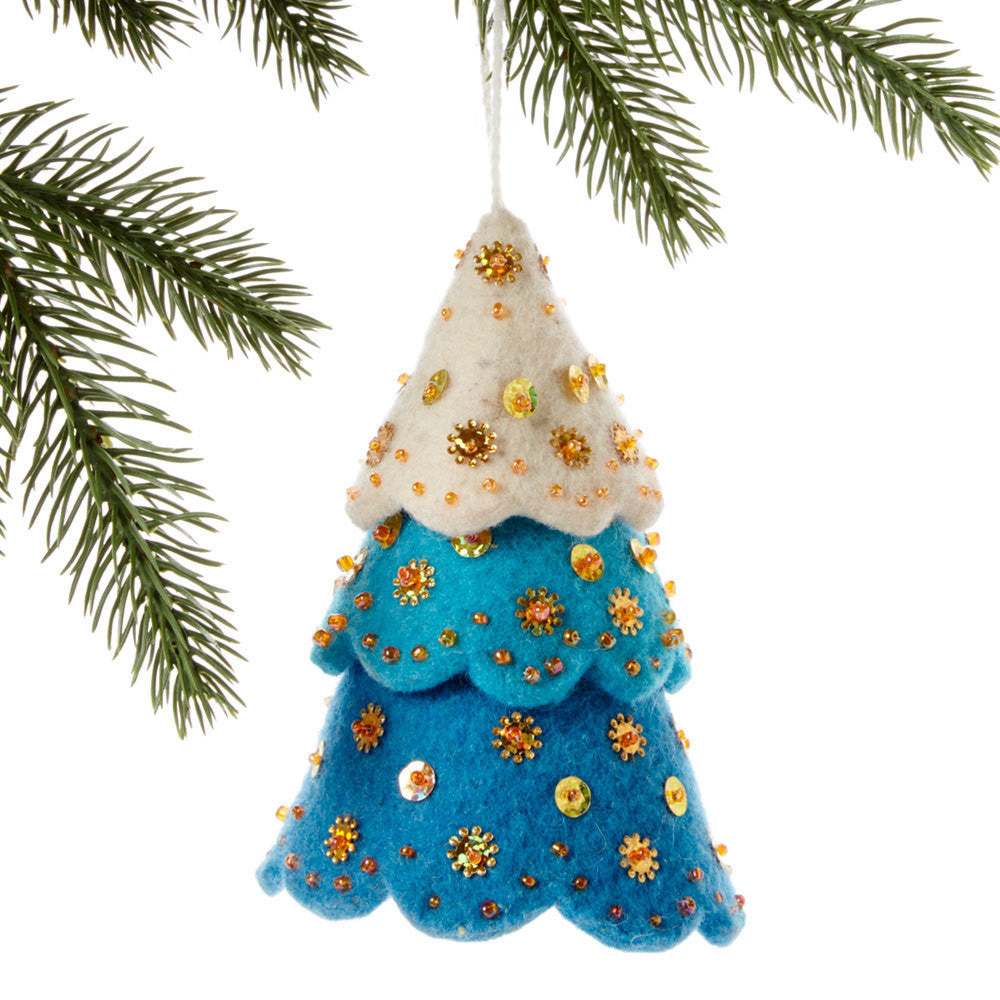 Tiered Blue Tree Felt Holiday Ornament - Kyrgyzstan