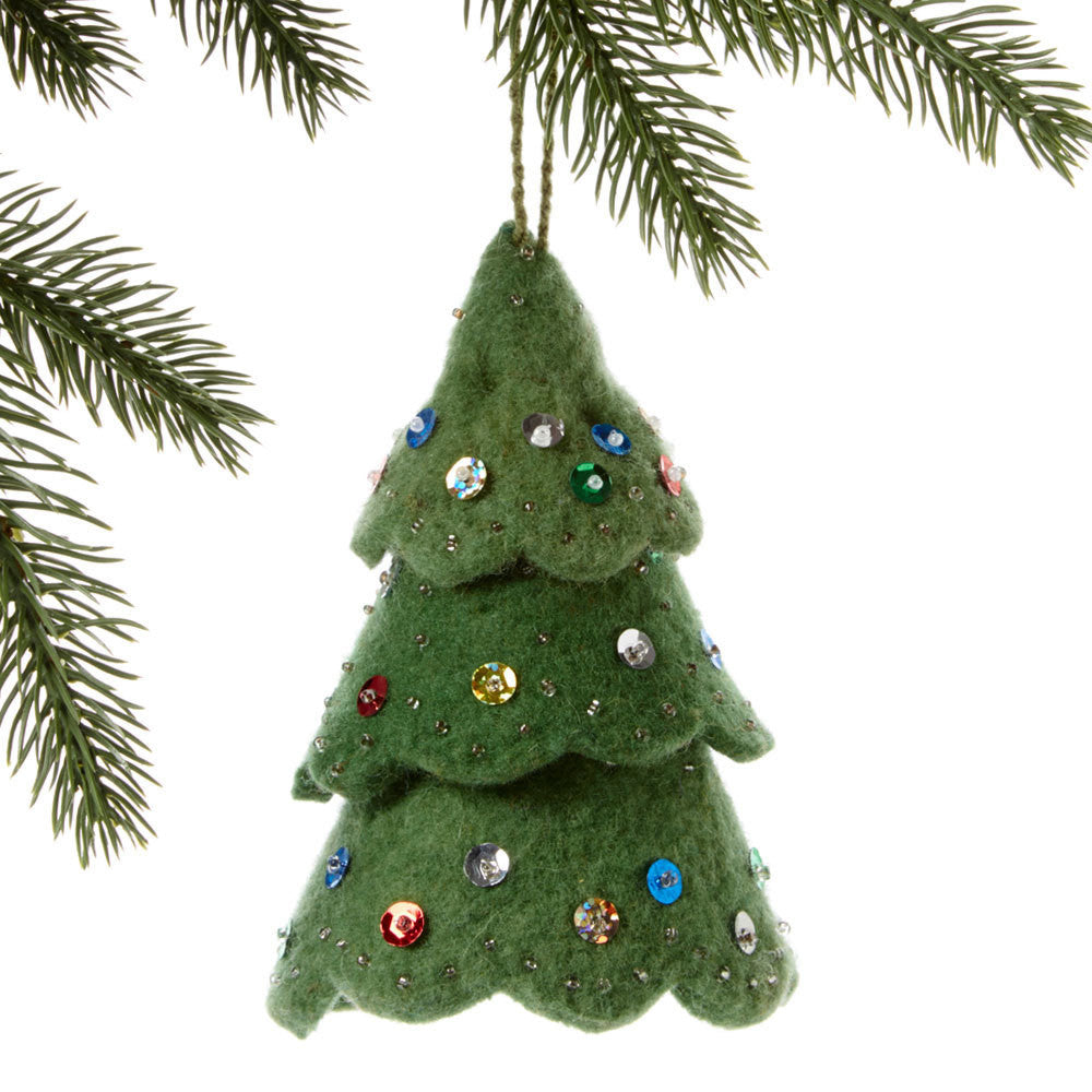 Green Tree Felt Ornament Multicolor - India