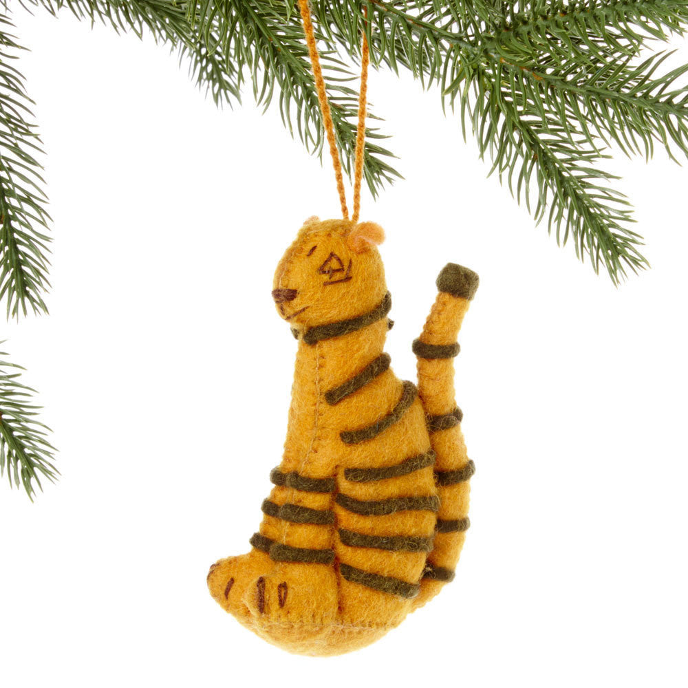 Tiger Felt Holiday Ornament - Kyrgyzstan