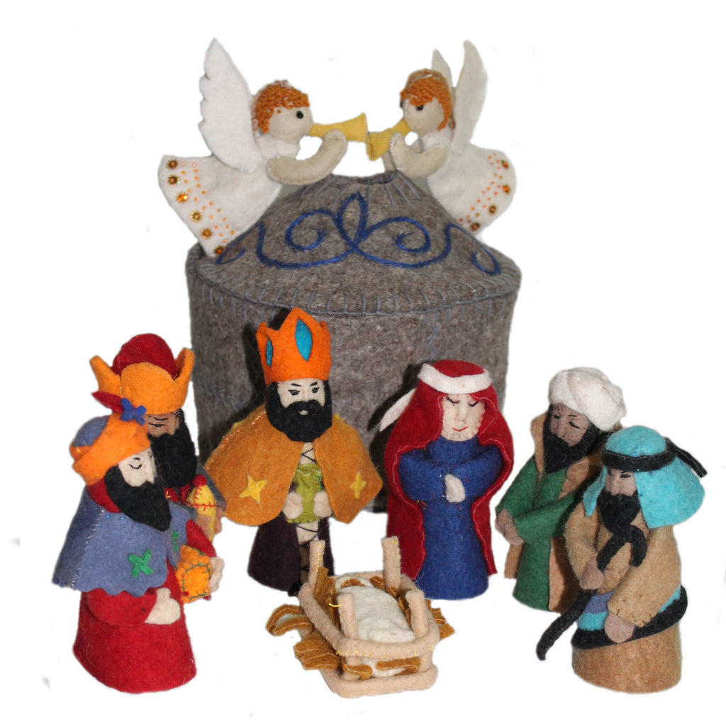 Magical Felt Nativity Set Gray - Kyrgyzstan