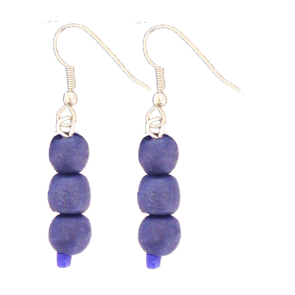 Recycled Glass Bead Earrings Blueberry - Ghana