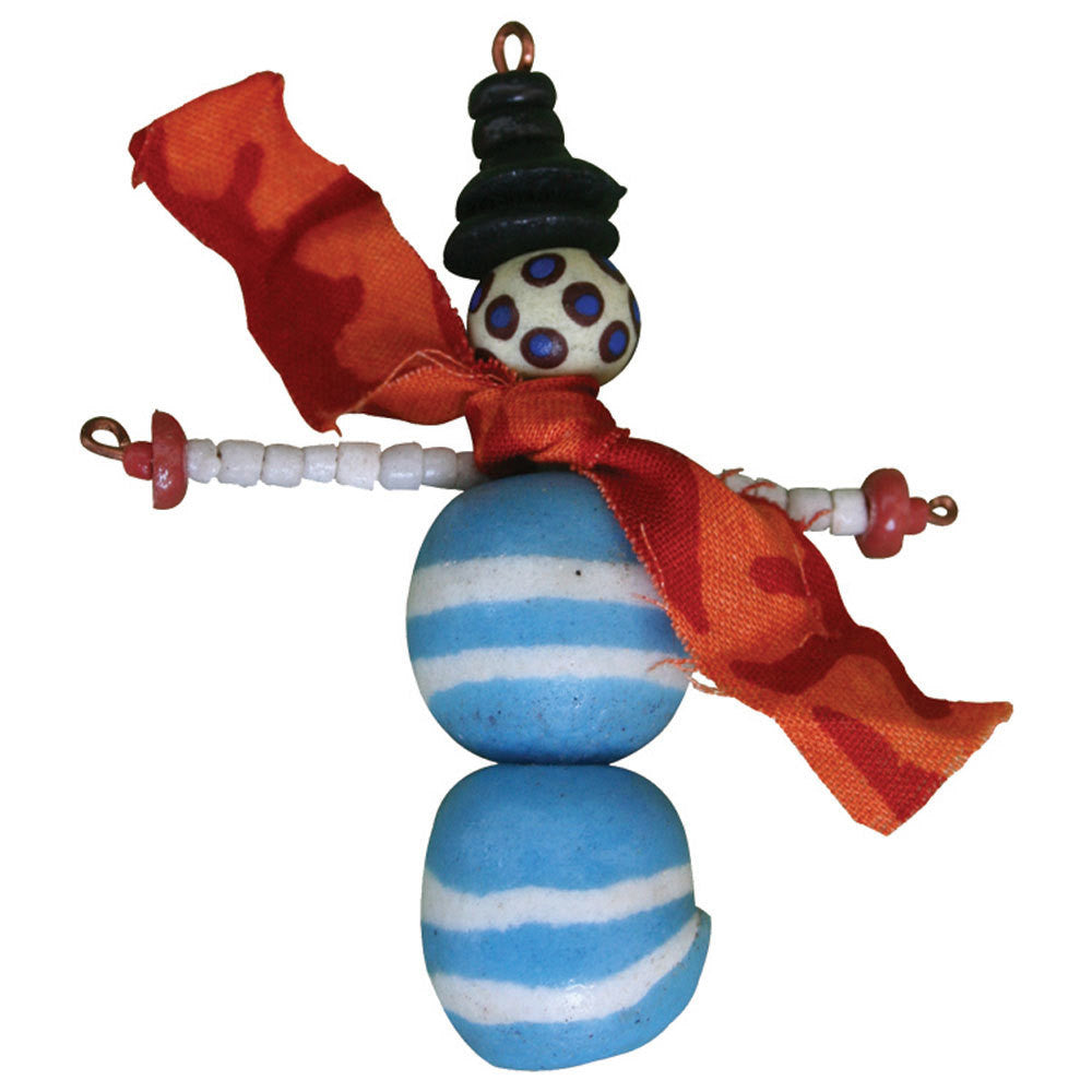 Recycled Glass Bead Snowman Ornament - Ghana