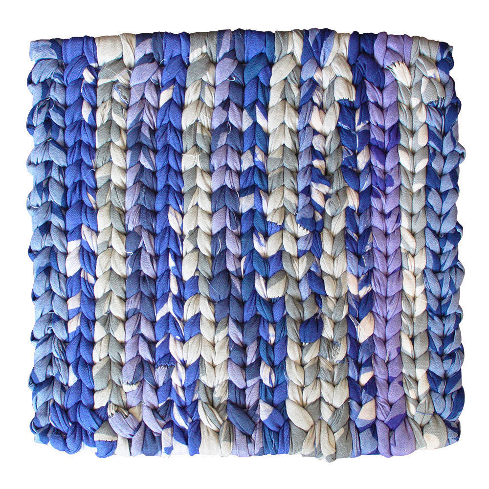 Recycled Fabric Woven Trivet Blue - Ghana