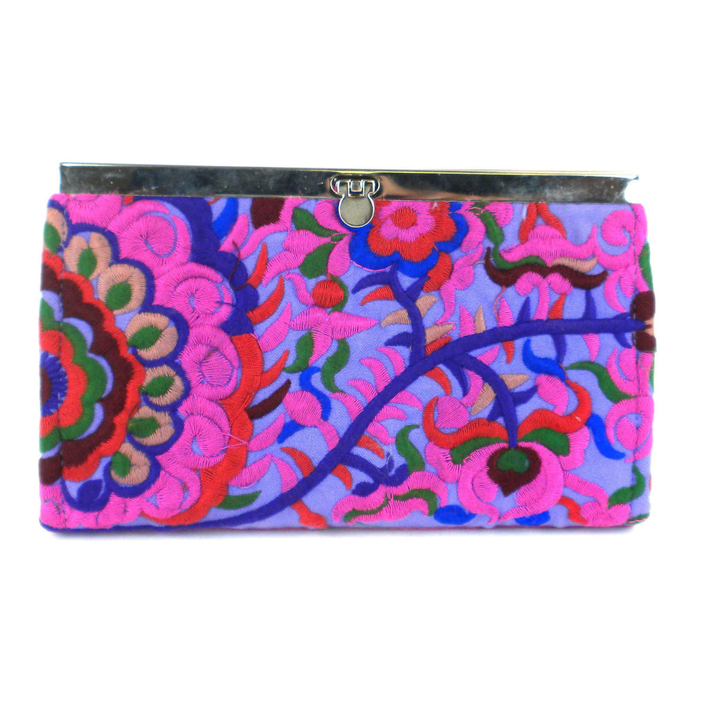 Purple Blossom Snap Clutch - Thailand